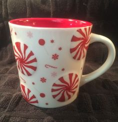 Starbucks Holiday 2007 Red Peppermint Candy Coffee Mug - 16 oz. Oversized