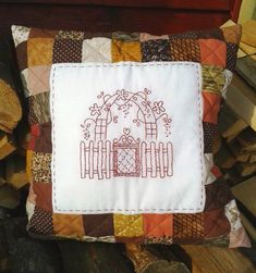 patchwork house embroidery