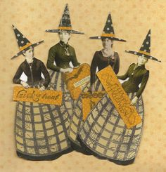 Halloween Witches Altered Art Mixed Media Paper Doll Ornaments Set of 4. $10.00, via Etsy.