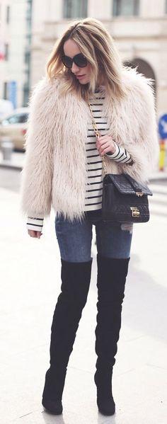 Fur On Stripes Outfit Idea