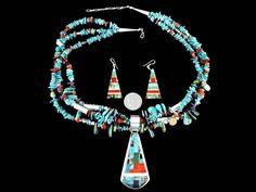 Native American Necklace Pendant Earrings 4 Piece Set Turquoise Santo Domingo T