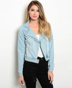 This lovely denim jacket features a wide notched collar with studded trim. Dark wash with semi faded look. Zip front closure and buttoned cuffs. 95% Cotton. 5% Polyester.