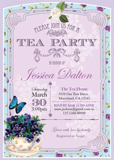 Butterfly Baby Shower Invitation Tea Party Invitation Little Girl
