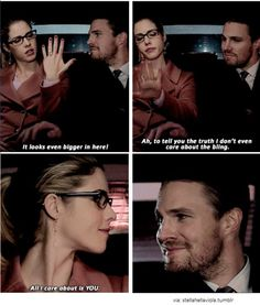 Arrow - Oliver & Felicity this was right before she got shot and I may have cried a little. okay a lot but still omg it's ! Oliver Queen Arrow, Oliver Queen Felicity Smoak, Arrow Felicity, Arrow Tv Series, Cw Series, Arrow Cw, Team Arrow, Dc Tv Shows, The Cw Shows