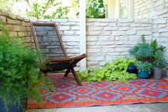 Succulents, patio chair, rug