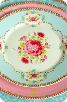pink and aqua china