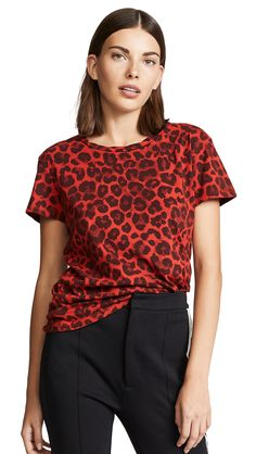 c58413dec275 Leopard Crew Neck Tee by Pam & Gela in Red Leopard Print. Stylst. Leopard  ShirtRed ...