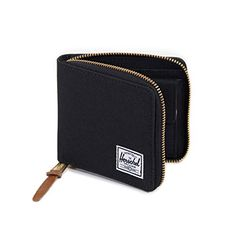 for B | Zipper Wallet would make it easier for him to carry when he's running around town with friends | He likes simple designs in black, navy, and grey | Herschel Supply Co. Men's Walt Wallet, Black/Black, One Size Herschel Supply Co.