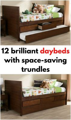 Dark wood daybed with trundle and storage drawers
