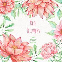 Watercolor Red Flowers, Handpainted, Digital Clip Art by AndriuhaUNEX on Etsy  #watercolor #clipart #illustration #shutterstock #stock #painting #design  #art #beautiful #floral #plant #invitation #love #creative #SquirrelStudio #romantic #wedding