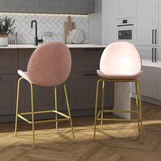 CosmoLiving by Cosmopolitan Astor Upholstered Counter, Pink Velvet with Brass Metal Leg Bar Stool Plywood Furniture, Bar Furniture, Furniture Design, Pink Bar Stools, Bar Chairs, Brass Bar Stools, Office Chairs, Small Bar Stools, Island Chairs