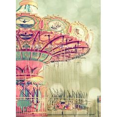 Carnival Photo. Swings.Dreamy. girly decor. Santa Cruz beach boardwalk. Pink. Green. Pale. Pastel. Bokeh. fair. Nursery Art. Mint.  Cute