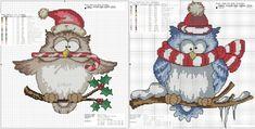 Nowe sowy Sovushka śnieg w Santa kapelusze, paski szalik sowa, sowy, Sovushka prosty system dla ściegiem krzyżykowym