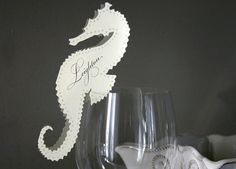 Beach wedding theme: seahorse wedding place card by Timeless Paper on Etsy Wedding Place Cards, Wedding Paper, Wedding Programs, Wedding Stuff, Wedding Theme Inspiration, Wedding Ideas, Wedding Decor, Paper Place, Menu Cards