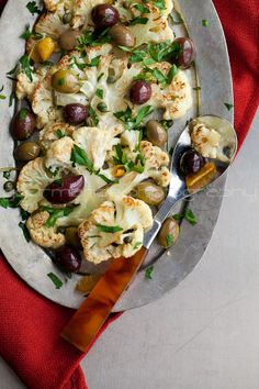 Roasted Cauliflower with olives & herbs.