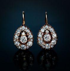 Victorian Era Diamond Cluster Gold Earrings  c. 1882-1898