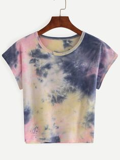 Color Block Tie-dye T-shirt Mobile Site