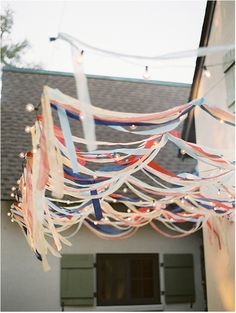 red, white & blue streamers
