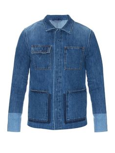 Valentino reinvents the perennial denim jacket for SS16. This mid-blue design is tailored for a smart, slim fit with a point collar, patch pockets, tonal panels along the hem and cuffs, and faded seams.   Available at MATCHESFASHION.COM