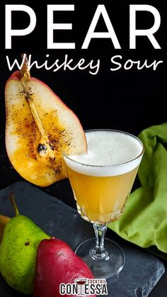 Perfect Fall Pear Whiskey Sour – Fall Away. Pears are often overlooked in cocktails, but I aim to change that with this fall pear sour. Pears aren't bright and flashy like strawberries or blueberries, and they're not as popular as apples, but in a fall cocktail with whiskey, they can be a revelation. Remember that fall (triple) simple from earlier this week?   @cocktailcontessa #craftcocktails #pearcocktails #fallcocktails #whiskeycocktails #whiskeysour Rye Cocktails, Fall Cocktails, Craft Cocktails, Drinks, Sour Cocktail, Cocktail Making, Pear Brandy, Recipe Maker, Pear Tart