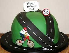 Change basic cake to hills with trees and dirt path.. add two more bikers