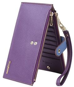 Borgasets RFID Blocking Women s Leather Wallet Zip Card Case Purse with  Removable Strap Wristlet and ID Holder Purple 84d4c6d173468