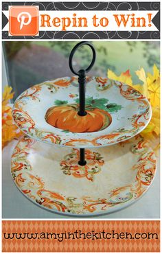 FOLLOW ME FOR AN EXTRA ENTRY! Win this beautiful double serving platter right in time for your first fall party! Winner to be announced Sept. 30th!
