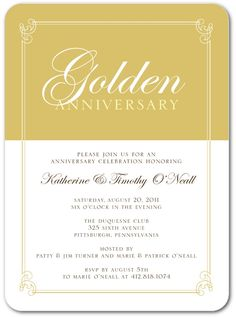 Wedding anniversary wording ideas invitation verses marriage golden precious metal anniversary invitations in dijon sarah hawkins designs stopboris Images