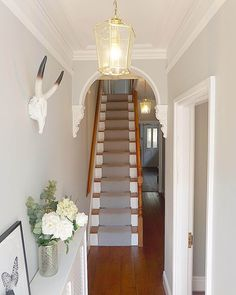 Feng Shui - Apartment Entrance and Mapping Your Life - Feng Shui Home Designs Narrow Hallway Decorating, Hallway Ideas Entrance Narrow, Modern Hallway, Upstairs Hallway, Edwardian Hallway, Edwardian House, Feng Shui Apartment, Apartment Entrance, Hallway Inspiration