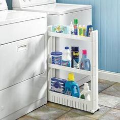 Slim slide out cart for laundry room. 5 inches wide