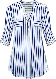 Find Cestyle Womens Roll Sleeve Blouse Flowy Shirt V Neck Work Casual Tunic Tops online. Shop the latest collection of Cestyle Womens Roll Sleeve Blouse Flowy Shirt V Neck Work Casual Tunic Tops from the popular stores - all in one Lace Skirt And Blouse, Sleeveless Cardigan, Striped Long Sleeve Shirt, How To Roll Sleeves, Work Casual, Blouse Designs, Plus Size Outfits, Tunic Tops, Tunic Shirt