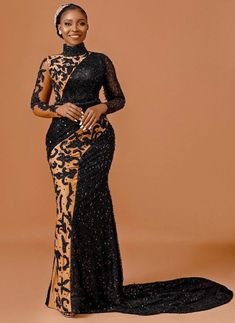 African Lace Dresses, Latest African Fashion Dresses, African Print Fashion, African Wedding Attire, African Attire, Long Sleeve Evening Gowns, Evening Dresses, Simple Long Dress, Dinner Gowns