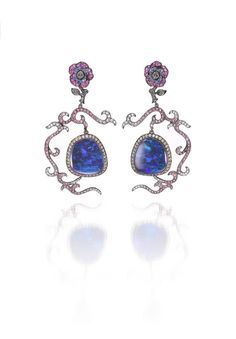 Wendy Yue opal and sapphire earrings