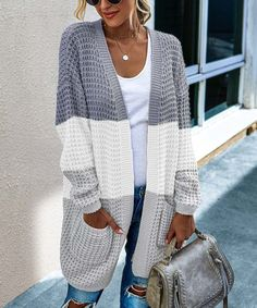 C.CLINE Gray & White Color Block Pocket Open Cardigan - Women | Best Price and Reviews | Zulily