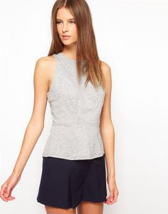 White Tent Jersey Shell Top With Panelled Detail by ASOS