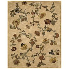 Bashian�Ipswich 3-ft 9-in x 5-ft 9-in Rectangular Cream Floral Wool Area Rug