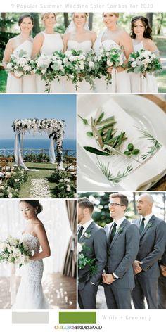 9 Popular Summer Wedding Color Combos for 2020 - ColorsBridesmaid Purple Summer Wedding, Pink Wedding Theme, Wedding Colours, Wedding Flowers, Dream Wedding, Wedding Color Combinations, Color Combos, White Corsage, Light Blue Bridesmaid Dresses