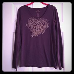 SALE!Lucky Brand V neck T Cute heart/paisley pattern. Worn once. Purple in color. Lightweight Lucky Brand Tops Tees - Long Sleeve