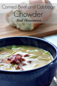 """Corned Beef and Cabbage Chowder   Real Housemoms   #chowder #cornedbeef Ingredients •1 tbsp olive oil •1 large onion, chopped •3 medium carrots, diced •3 cups of potatoes, peeled and cut into ½"""" cubes •1 tsp salt •26 oz. beef broth •¼ cup butter •¼ cup flour •2 cups milk •3 cups of cooked corned beef, diced •salt and pepper to taste •1 to 2 cups of Dubliner cheese, shredded •¼ of a head of cabbage, shredded"""