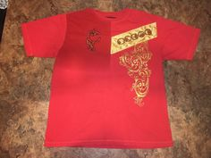 """Coogi Embroidered Embellished T shirt Mens XXXL US XL Red 50"""" Chest #COOGI #EmbellishedTee"""