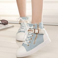 New Hot Sale Women Rivets Canvas Shoes +PU Surface Fashion Belt Buckle High Running Shoes For Leisure Sneakers Fashion Belts, Sneakers Fashion, Fashion Shoes, Color Fashion, Cute Shoes, Me Too Shoes, Shoe Boots, Shoes Heels, Shoes Sneakers