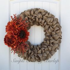 Stunning rustic burlap wreath featuring a unique earth tone ruffle design accented with a sunflower, daliha, peony and orange spray. by SimpleCountryBurlap on Etsy https://www.etsy.com/ca/listing/479037597/stunning-rustic-burlap-wreath-featuring