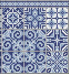 gazette94. Cross stitch pattern of blue&white tiles