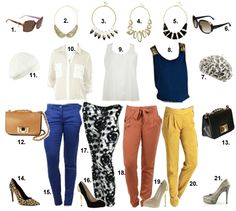 Get the look: Coloured Trousers. http://thefashioncatalyst.com/site/2013/03/get-the-look-coloured-trousers/