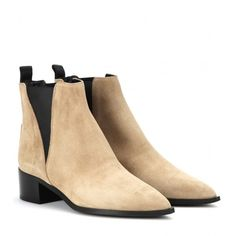 Acne Studios Jensen Suede Ankle Boots ($320) ❤ liked on Polyvore featuring shoes, boots, ankle booties, beige, suede bootie, short suede boots, beige booties, suede leather boots and beige boots