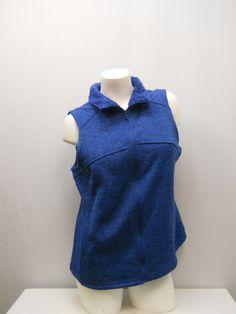 SIZE L Womens Sweater Vest FADED GLORY Blue Faux Sherpa Fur Collar Sleeveless #FadedGlory