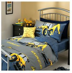 boys yellow digger bedroom idea from @Asda range