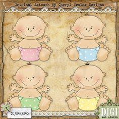 Happy Babies 1 - Cheryl Seslar Country Clip Art