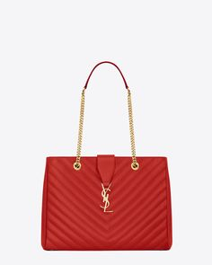 Well hello there. I think I just fell in love with you.  ) Classic  Monogramme Saint Laurent Tote in Lipstick Red Grain de Poudre Textured  Matelassé Leather 46747bf6d0fd
