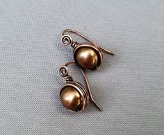 Gold Freshwater Pearl Wire Wrapped in Copper/ Free by mese9, $20.00